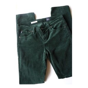 AG Green Corduroy Stevie Slim Straight Pants